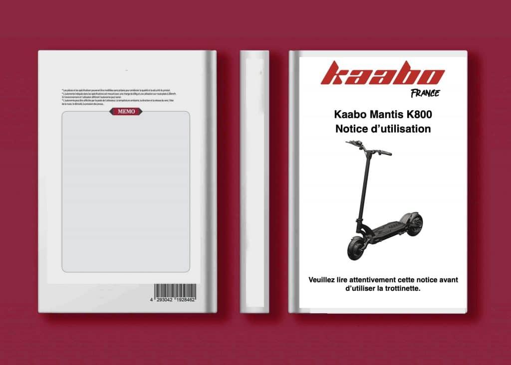 notice utilisateur mode d'emploi trottinette kaabo Mantis LITE K800 francais